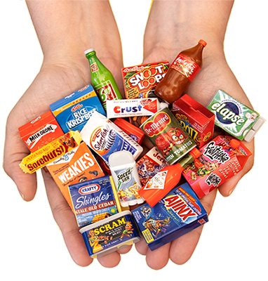 Hands with Wacky packages